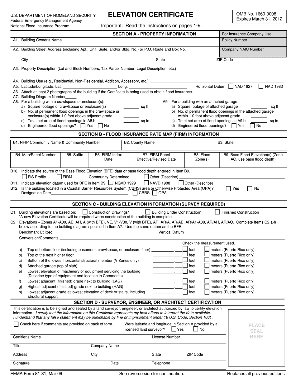 elevation certificate cost