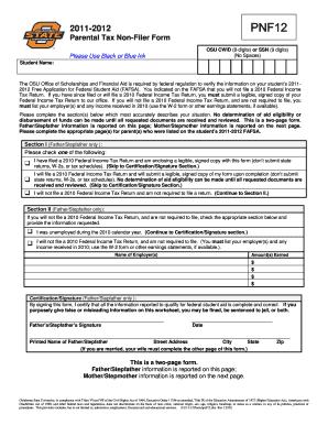 Fillable Online financialaid okstate Parent Tax Non-Filer Form ...