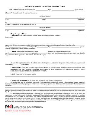 Lease Business Property Short Form Fill Online Printable