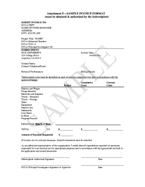 example college invoice form