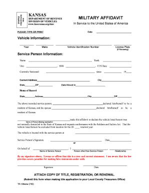 Bill of sale form kansas military affidavit form templates for Kansas motor vehicle bill of sale