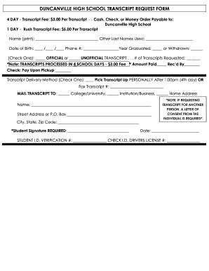 Duncanville High School Transcript Request Form