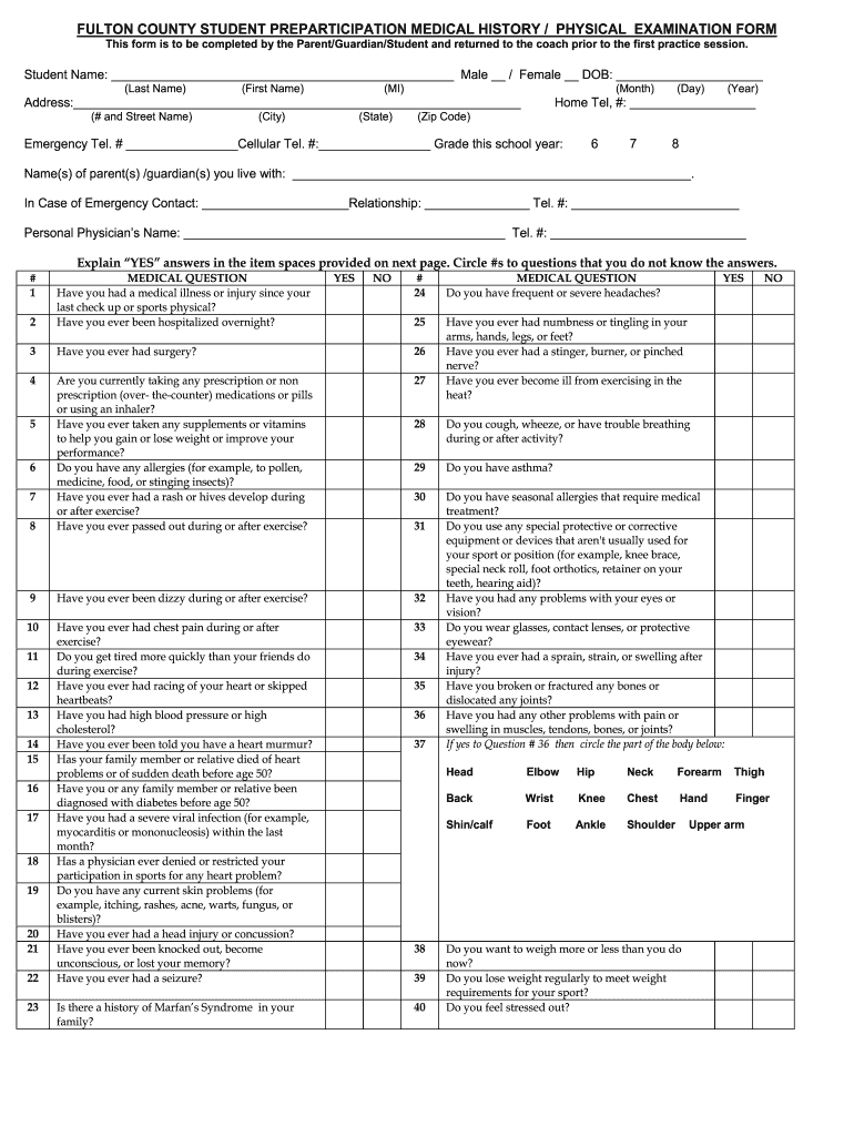 Fulton County School Physical Form - Fill Online, Printable