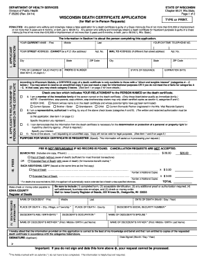 Wisconsin Death Certificate Application Form Fillable - Fill ...