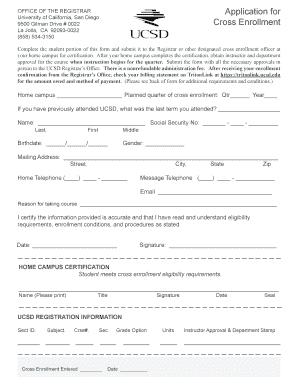 Ucsd Registrar - Fill Online, Printable, Fillable, Blank | PDFfiller