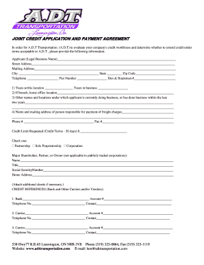 adt credit application form