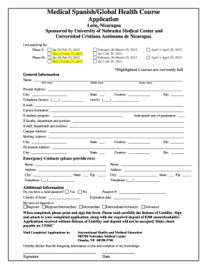 photo relating to Printable Job Application in Spanish identified as Unmc Clinical Spanish Computer software - Fill On line, Printable