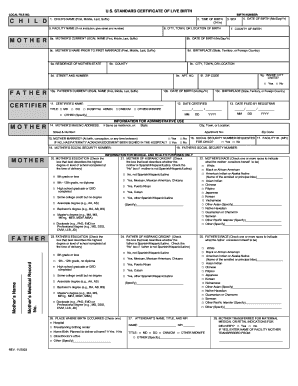 Certificate Of Live Birth Template Fill Online Printable