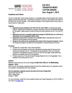Uic Transfer Merit Tuition Award - Fill