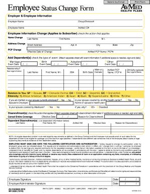 Employee Status Change - Fill Online, Printable, Fillable, Blank ...