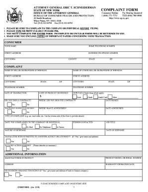 Fillable Online ag ny Complaint Form - New York State Attorney ...