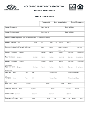 Colorado Apartment Association Rental Application Form