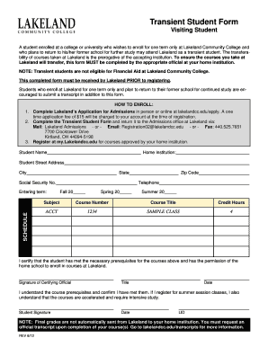 Lakeland Community College Transient Form - Fill Online, Printable ...