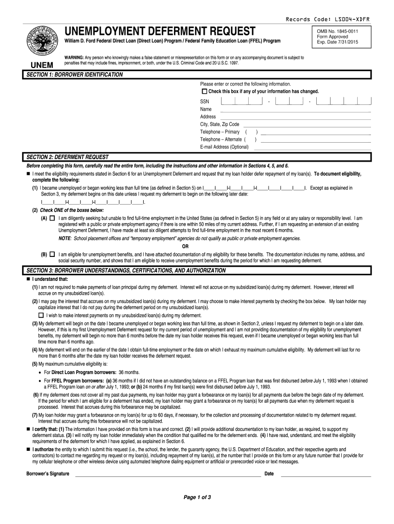Fed Loan Unemployment Deferment Form Fill Online Printable Fillable Blank Pdffiller