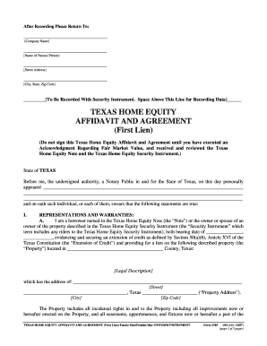 Texas home equity affidavit and agreement fill online for Motor vehicle lien search