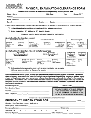 sports physical form mhsaa  Mhsaa Physical Examination Clearance Form - Fill Online ...