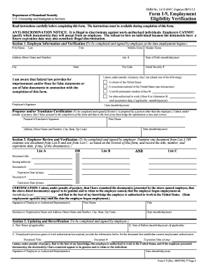 Fillable Online Employment Eligibility Verification Form I 9 Pdf