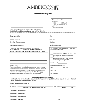 Amberton University Transcript Request Form