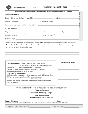 Occ Transcript Request - Fill Online, Printable, Fillable, Blank ...