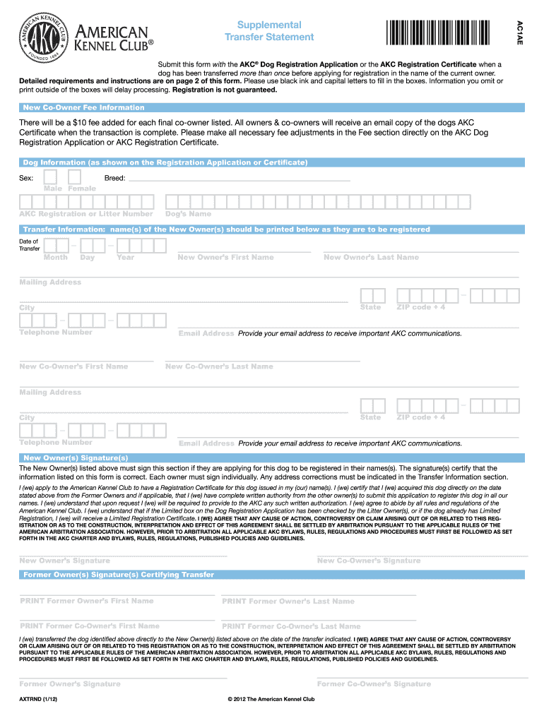 Transfer Form Dog - Fill Online, Printable, Fillable, Blank | PDFfiller