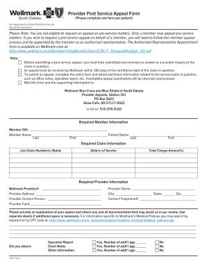 Bcbs Provider Post Service Appeal Form For Delaware - Fill Online ...