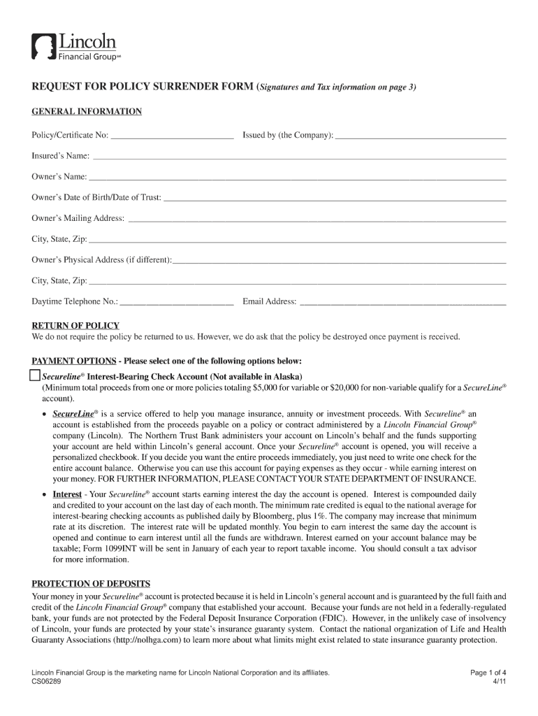Cs06289 Request For Policy Surrender Form - Fill Online ...