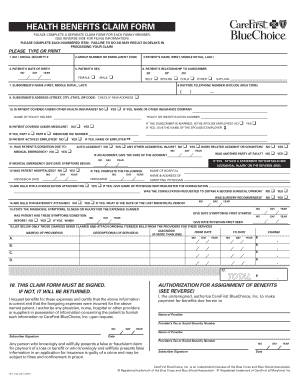Carefirst Health Benefits Claim Form Fillable - Fill Online ...