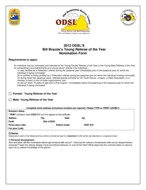 2012 ODSL'S Bill Brazzle's Young Referee of the Year Nomination ... - odsl