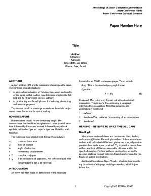 Fillable Online files asme Paper Number Here - ASME - files asme ...