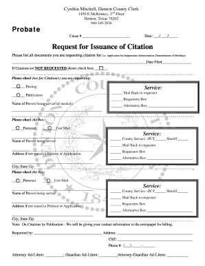 Denton County Issuance Citation - Fill Online, Printable, Fillable ...