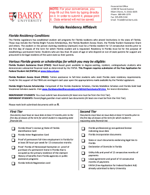 florida residency affidavit form barry university