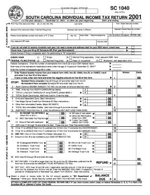Sc1040 2001 Form - Fill Online, Printable, Fillable, Blank | PDFfiller