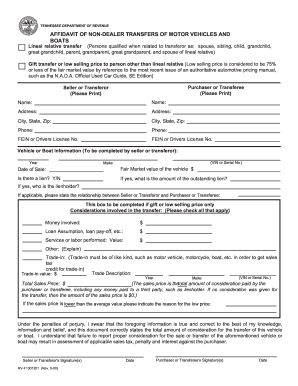 Bill of sale form tennessee affidavit form templates for Tennessee motor vehicle bill of sale
