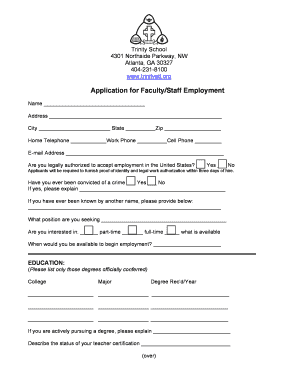 Fillable online trinityatl application for faculty staff employment rate this form altavistaventures Choice Image