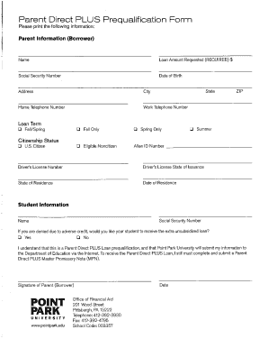 point park parent plus loan form