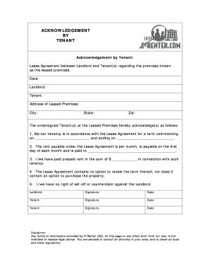 Ontario lease acknowledgement fill online printable fillable ontario lease acknowledgement platinumwayz