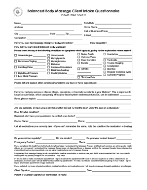 spanish massage therapy intake texas form