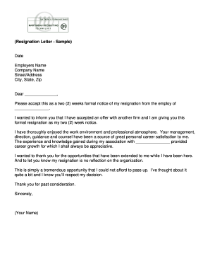 Official Letter Of Resignation from www.pdffiller.com