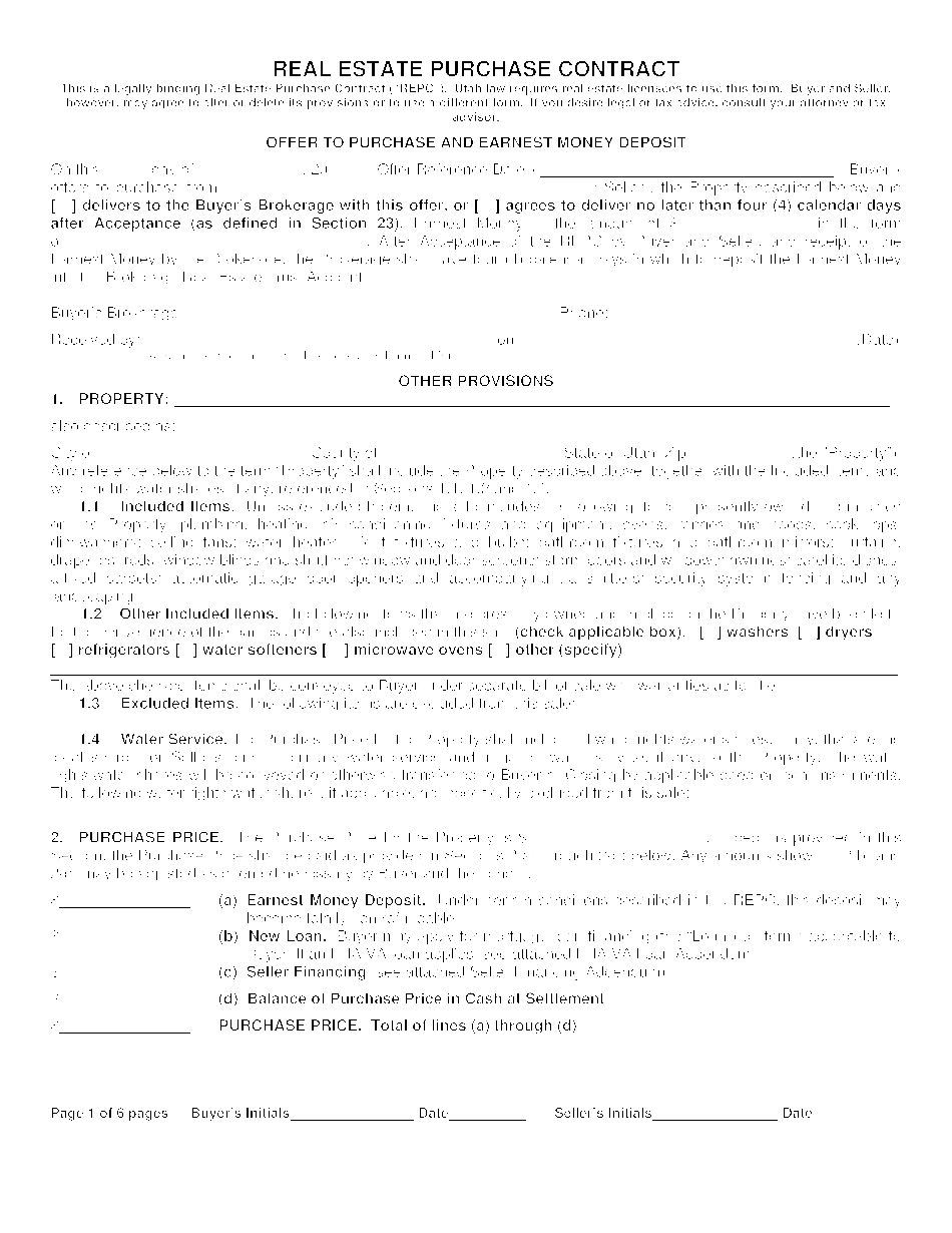 Form Real Estate Purchase Agreement
