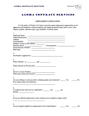 employment application form for pacific air cargo