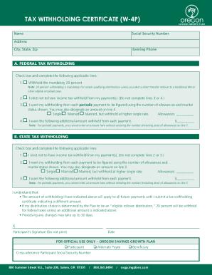 Oregon Form W4p - Fill Online, Printable, Fillable, Blank | PDFfiller