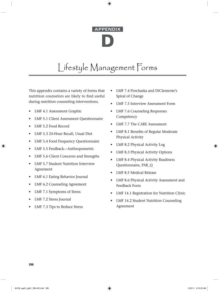 Lifestyle Management Forms - Fill Online, Printable