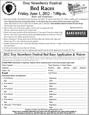 Troy Strawberry Festival 2020.Strawberry Festival Bed Race Rules Fill Online Printable