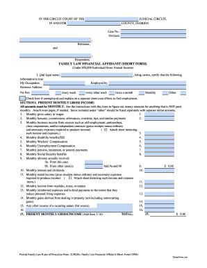 Family Law Form 12902b Financial Affidavit Short Form 906 Fill