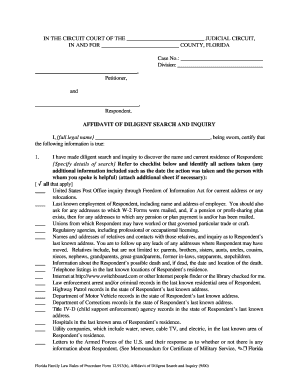 Affidavit of diligent search fillable 2000  form