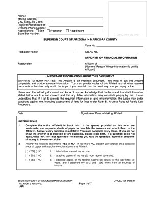 arizona affidavit of financial information