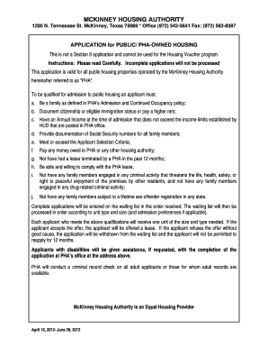 Housing Authority Of Mckinney Texas - Fill Online, Printable