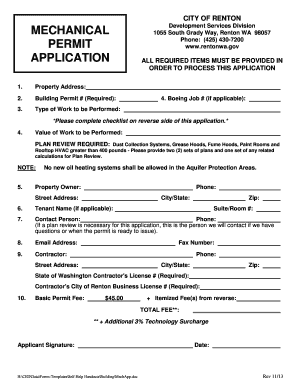 merchanical permit application. permit form - rentonwa