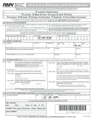 Massachusetts License Class D Application - Fill Online, Printable ...