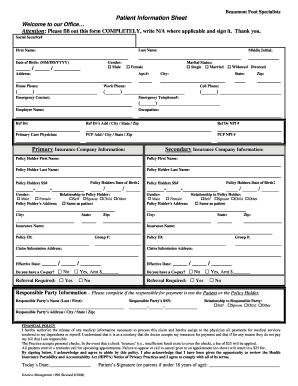 template for patient information sheet - patient information